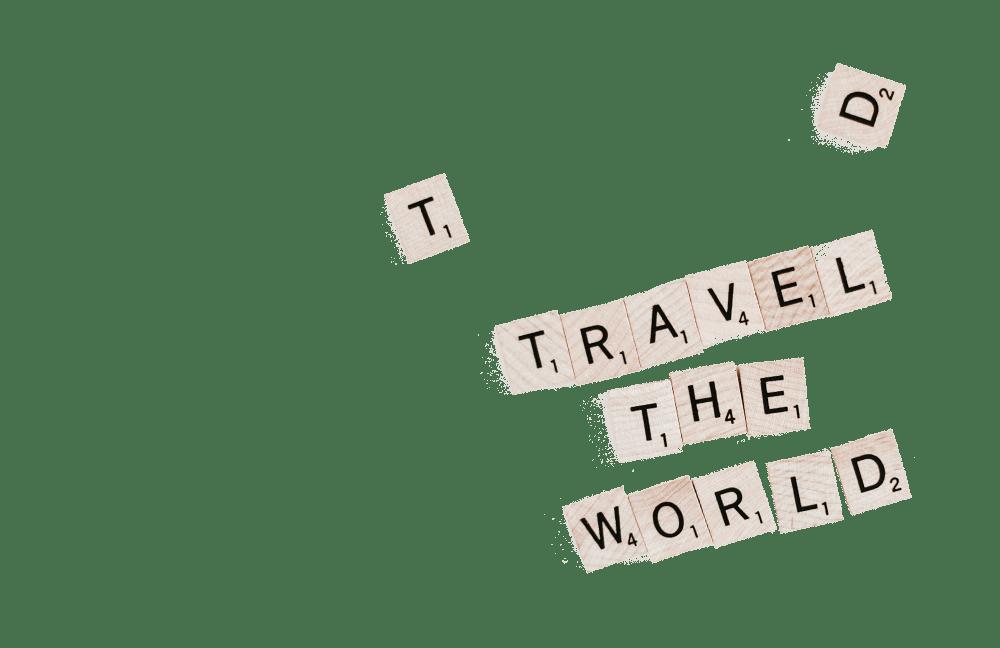 Reisequote aus Scrabbel-Steinen
